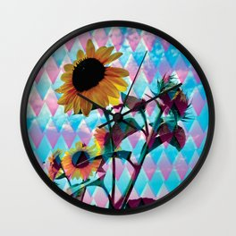 Sunflowers and a bee Wall Clock