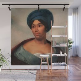 African American Masterpiece 'African Woman in a Blue Turban' by Eugene Delacroix Wall Mural