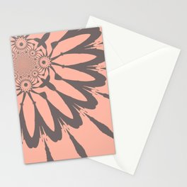 Modern Flower Peach and Gray Stationery Cards