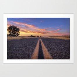 Follow the.... Millville Plains Road at sunset Art Print