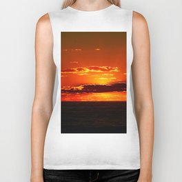 Sunset with Silver lined Clouds Biker Tank