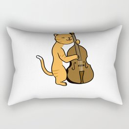 Cat Playing Double Bass for Bass Player Rectangular Pillow