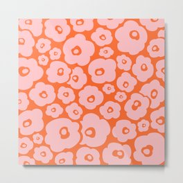 Retro Flower Pattern 142 Orange and Pink Metal Print