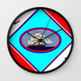 A Nautical Oval Ship and Anchors, red, white and blue Wall Clock