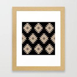 Southwestern Pattern 521 Black and Beige Framed Art Print