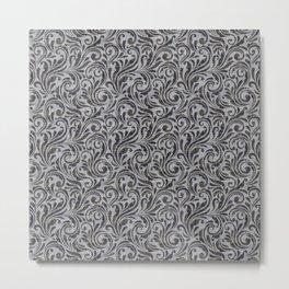Leaf Scroll Brown/Gray Metal Print