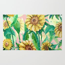 sunflowers in pink Rug