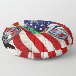High Flying Freestyle Motocross Rider & US Flag Floor Pillow