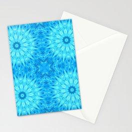 Turquoise Blue Crystal Mandala Pattern Stationery Cards
