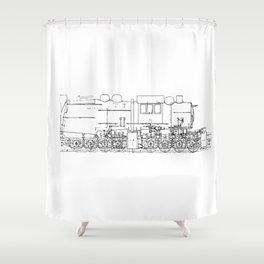 Sketchy train art Shower Curtain