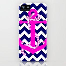 Blue White Chevron Pink Anchor iPhone Case