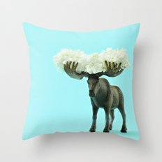 Moose With Flowers On Blue Throw Pillow
