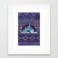 forever young Framed Art Prints featuring forever young by Sara Eshak