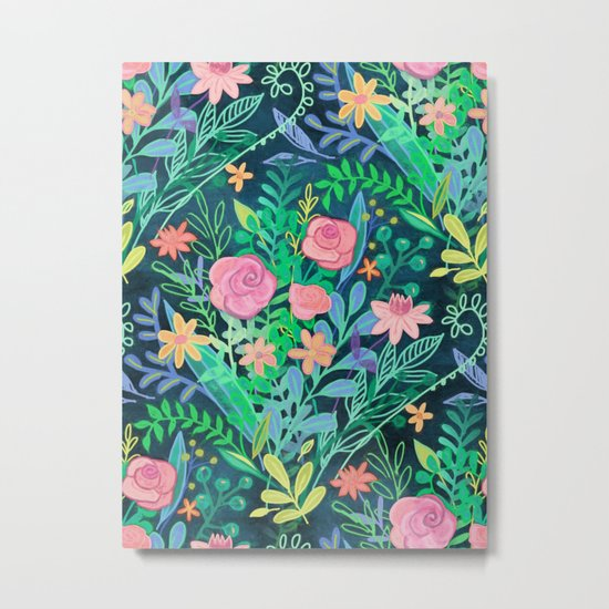 Roses + Green Messy Floral Posie Metal Print