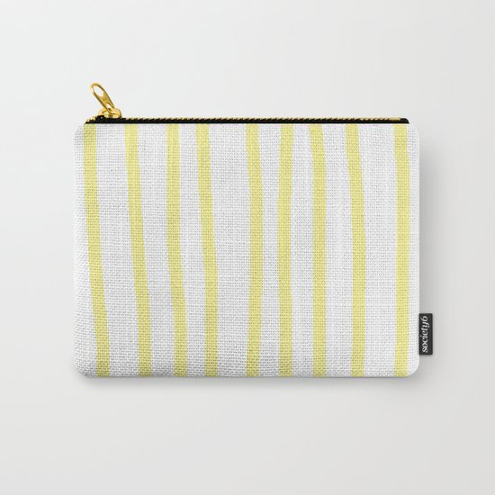 Simply Drawn Vertical Stripes in Pastel Yellow Carry-All Pouch