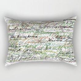 All The Presidents Signatures Green Sepia Rectangular Pillow