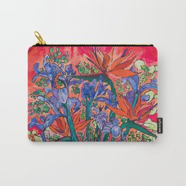 Icarus Floral Still Life Painting with Greek Urn, Irises and Bird of Paradise Flowers Carry-All Pouch