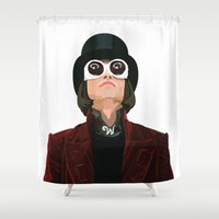 willy wonka Shower Curtains featuring Willy Wonka by Natalié Art&Living