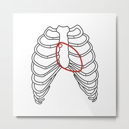 Red heart and ribs Metal Print
