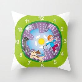 Kid's clock Throw Pillow