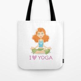 Cute Yoga Girl Sitting in Lotus Pose Tote Bag