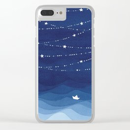 night sky, ocean painting Clear iPhone Case