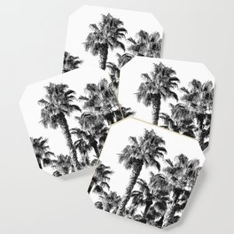 {2 of 2} Classic Palm Leaf Sky // Summer Black and White Palmtree Art Print Coaster
