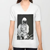 spaceman V-neck T-shirts featuring Spaceman by Bri Jacobs
