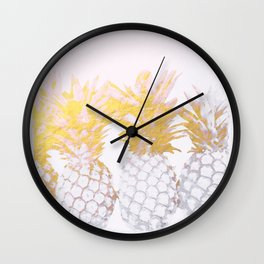 Golden pineapples Wall Clock