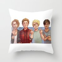 5 seconds of summer Throw Pillows featuring 5 Seconds of Summer by gabitozati