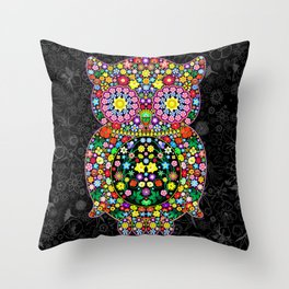 Owl Zentangle Floral   Throw Pillow