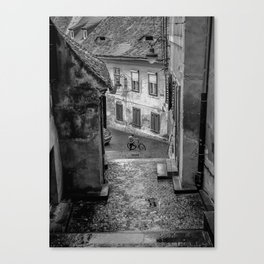 Boy with Bicycle Canvas Print