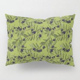 Black Olives Pattern Green Pillow Sham