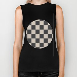 Traditional Checkerboard, Ecru-Beige and Chocolate-Deep Brown Biker Tank