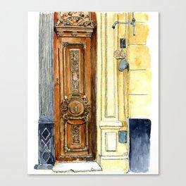 Carved Wooden Door in Old Havana, Cuba Canvas Print