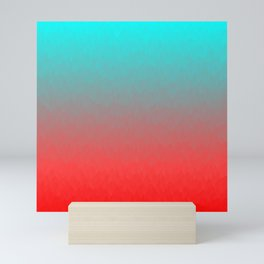 Cyan to red ombre flames Miami Sunset Mini Art Print