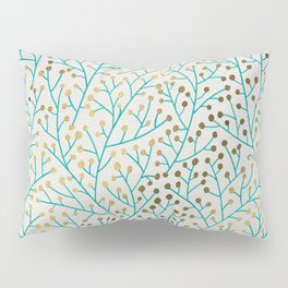 Berry Branches – Turquoise & Gold Pillow Sham