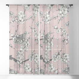 Cherry Blossom and Moths Sheer Curtain