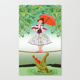 The Umbella girl With crocodile Canvas Print