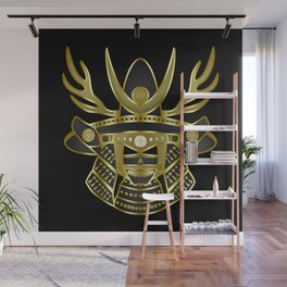 Mexican Samurai (Mariachi Edition), Black & Golden Gradient Filling with Black Background Wall Mural