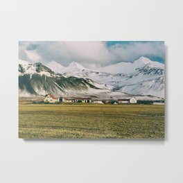 Iceland Homes in the Mountains Metal Print