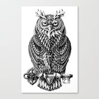 owl Canvas Prints featuring Great Horned Owl by BIOWORKZ