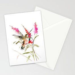 Hummingbird and Pink Flowers, sage green, olive green pink Stationery Cards