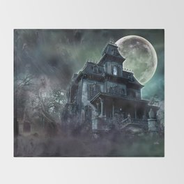 The Haunted House Throw Blanket