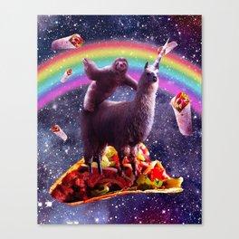 Sloth Riding Llama Canvas Print
