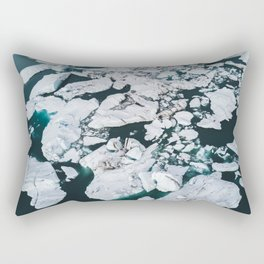 Icelandic glacier icebergs from above - Landscape Photography Rectangular Pillow
