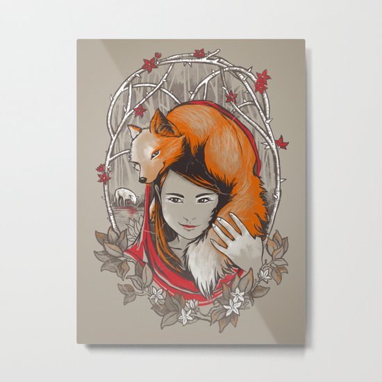 Safe in My Red Riding Hood Metal Print