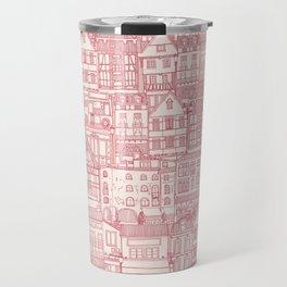 cafe buildings pink Travel Mug