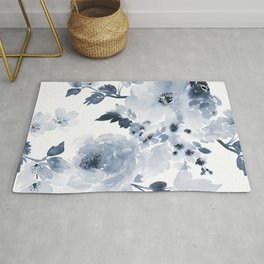 Floral Kingdom Watercolor Navy Blue Painting Of Flowers Peony Rug