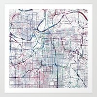 kansas city Art Prints featuring Kansas city map by MapMapMaps.Watercolors
